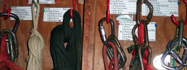 Safety equipment for Four Winds Ropes Courses.
